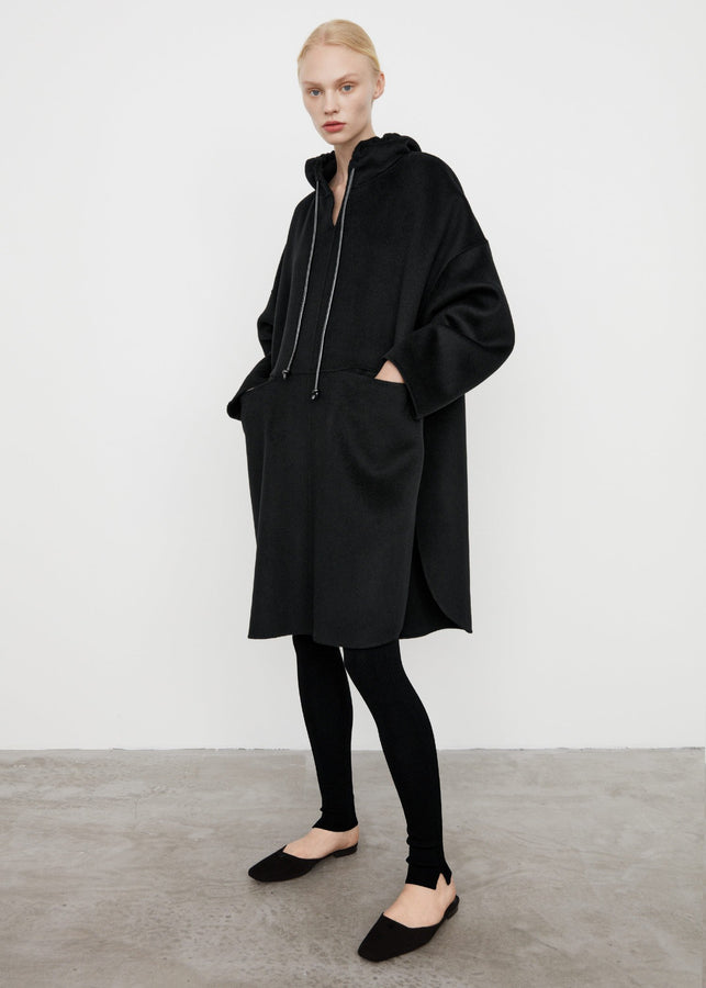 Wool cashmere pullover coat black