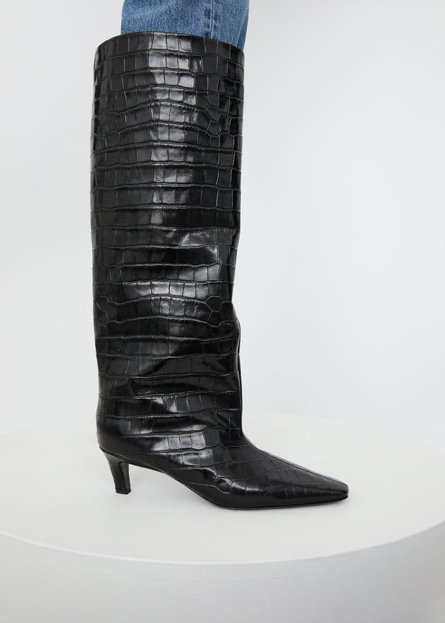 The Wide Shaft Boot black croco