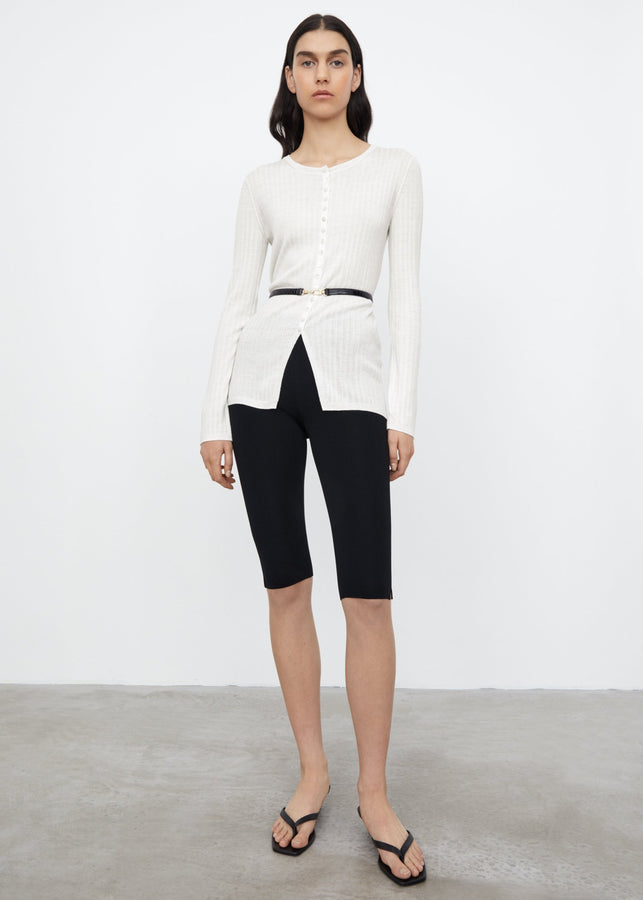 Mercerized merino cardigan off-white