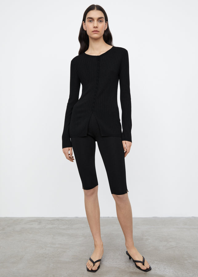 Mercerized merino cardigan black