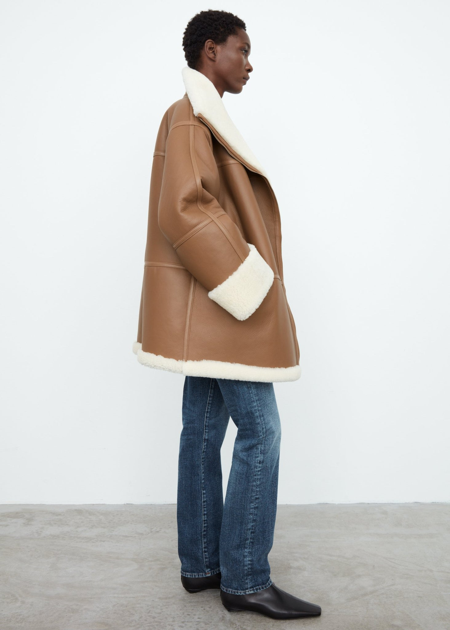 Menfi shearling jacket toffee