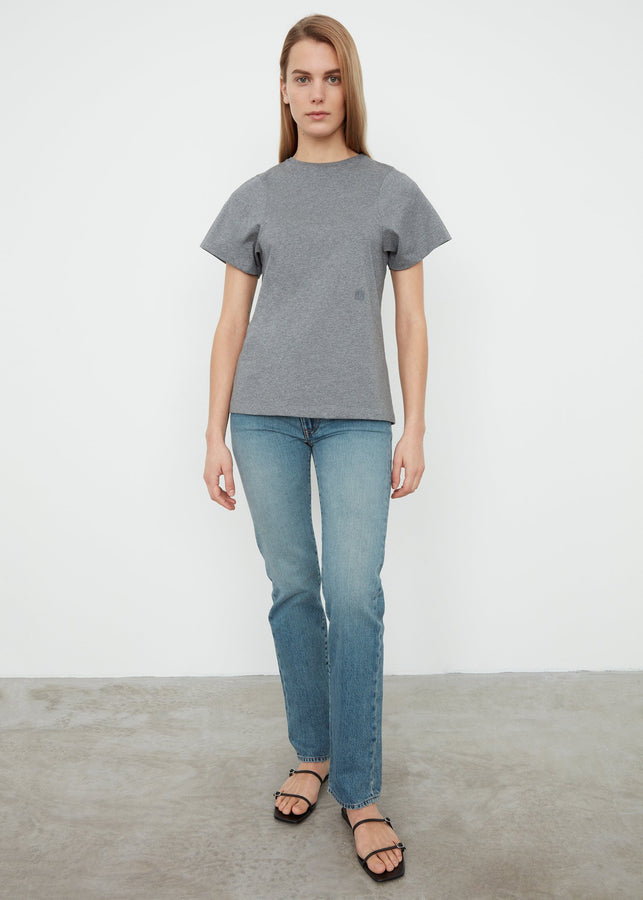 Curved seam tee grey melange
