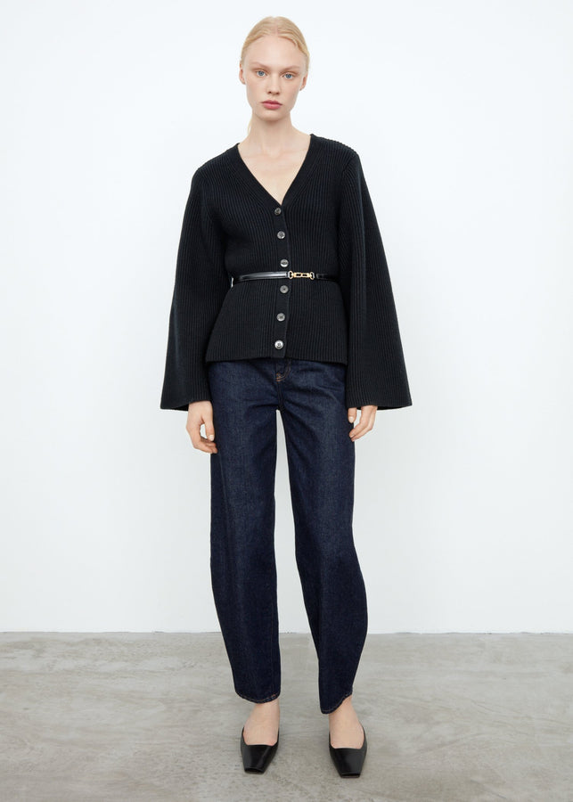 Lambswool knit cardigan black