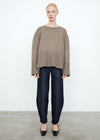 Double-sided cashmere knit hazel melange