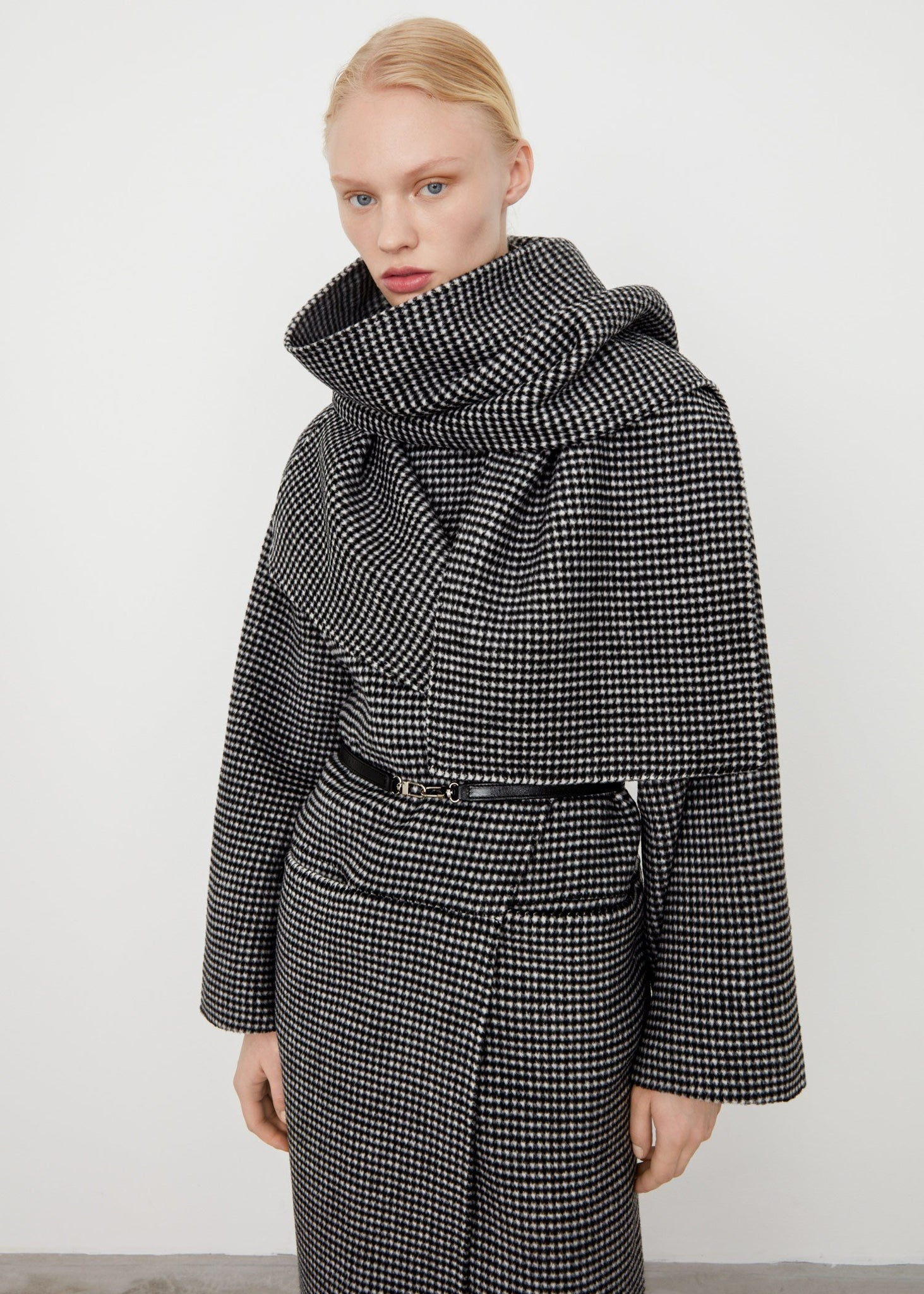 Double wool cashmere scarf houndstooth