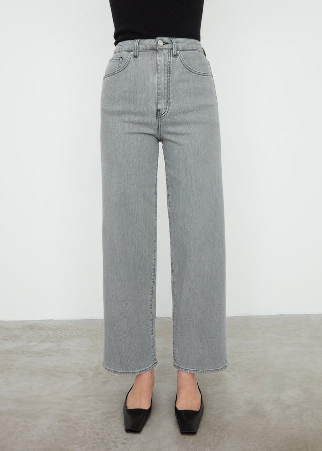 Flare fit denim light grey wash
