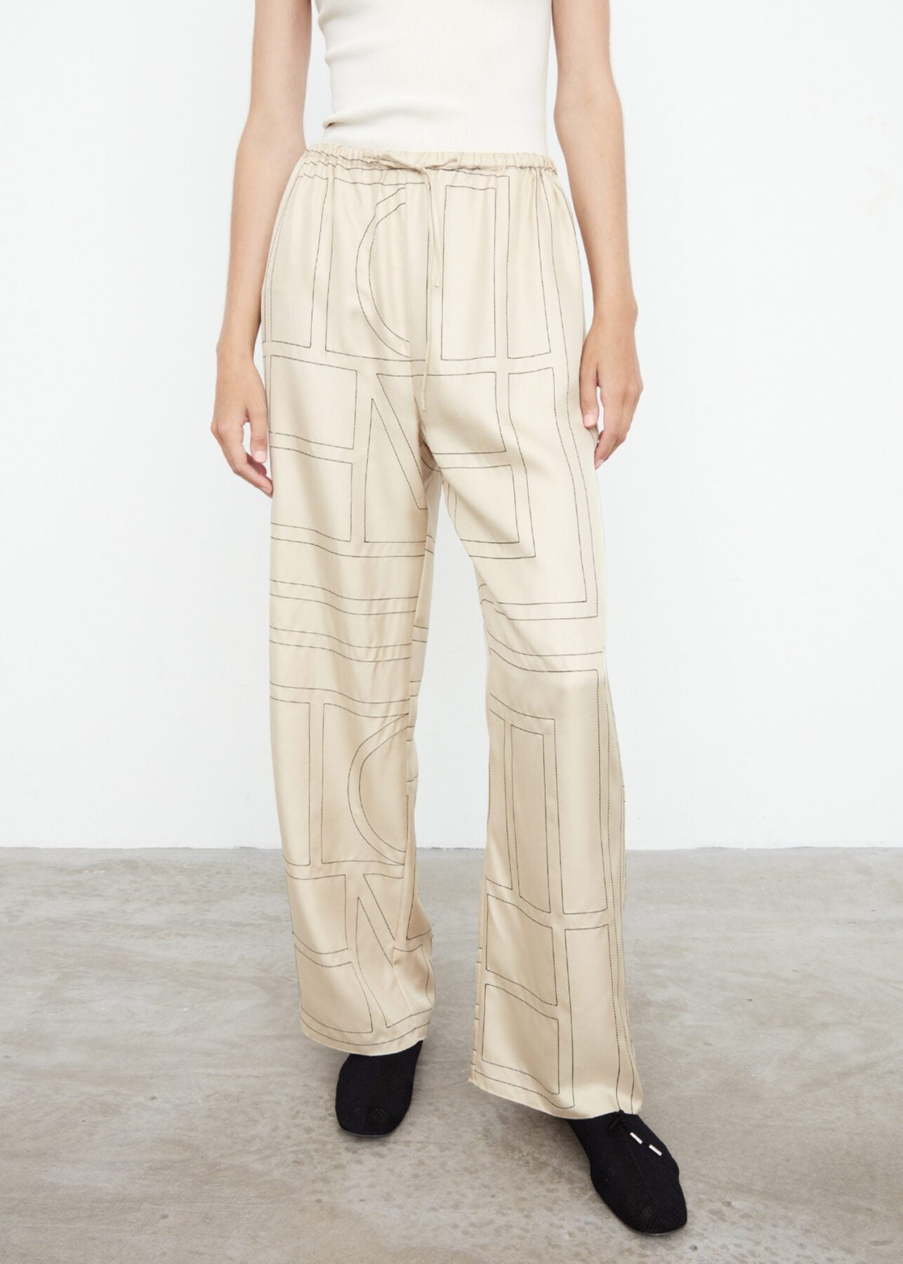 Monogram silk PJ bottoms ivory