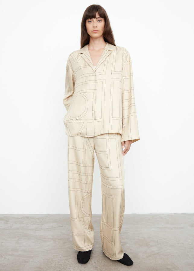 Monogram silk PJ top ivory