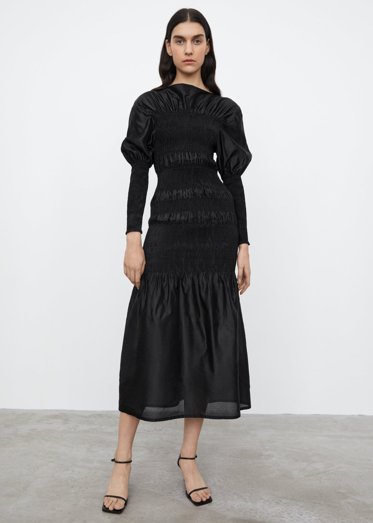 Smocked cocktail dress black