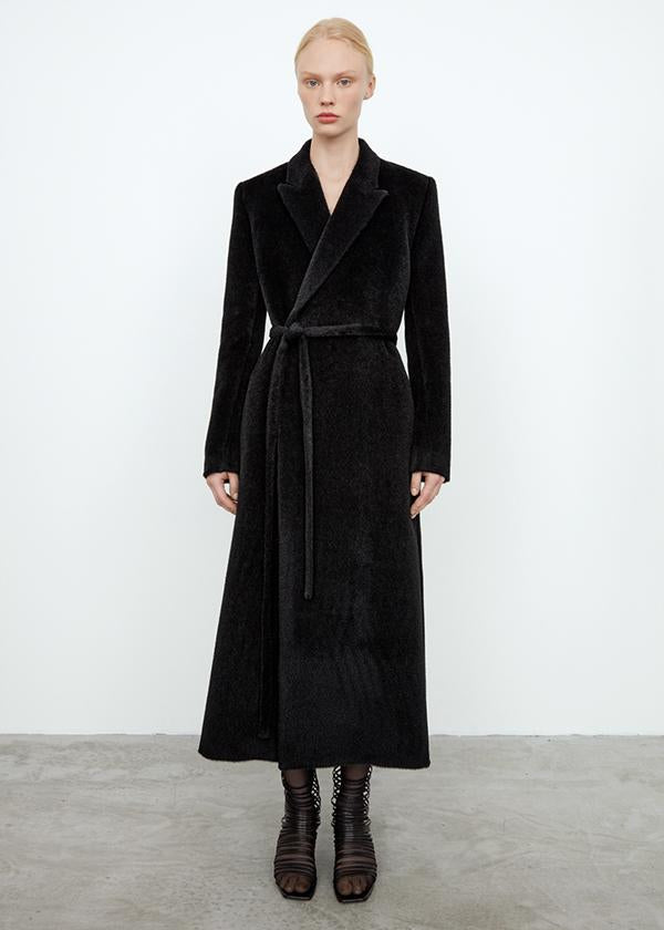 Alpaca wrap coat black