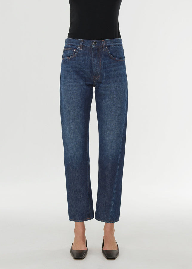 Twisted seam denim dark blue wash