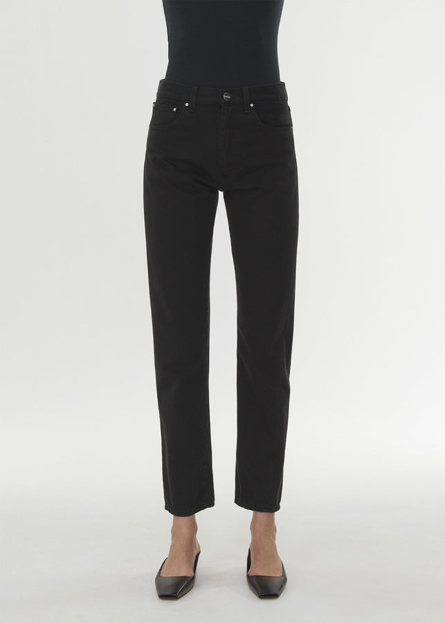 Twisted seam denim black rinse