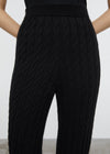 Cashmere cable knit slacks black