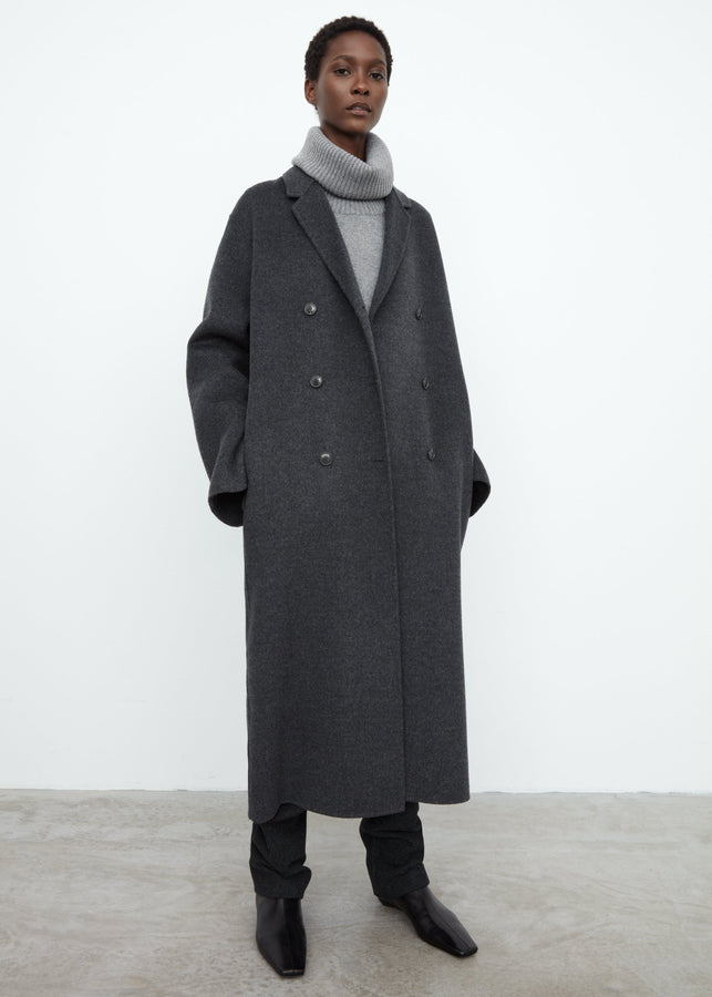 Double wool overcoat grey melange