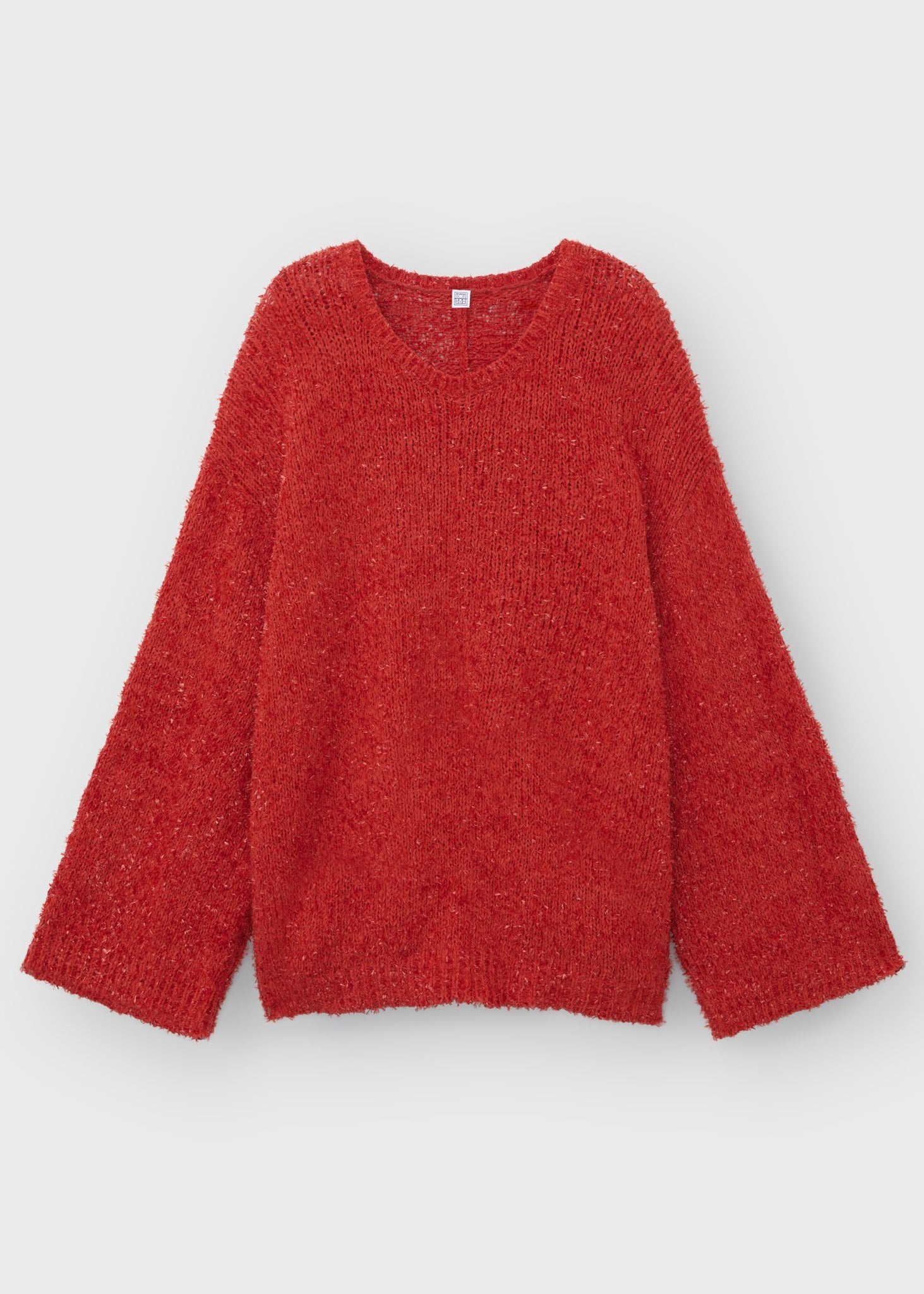 Festive sparkle knit red ribbon