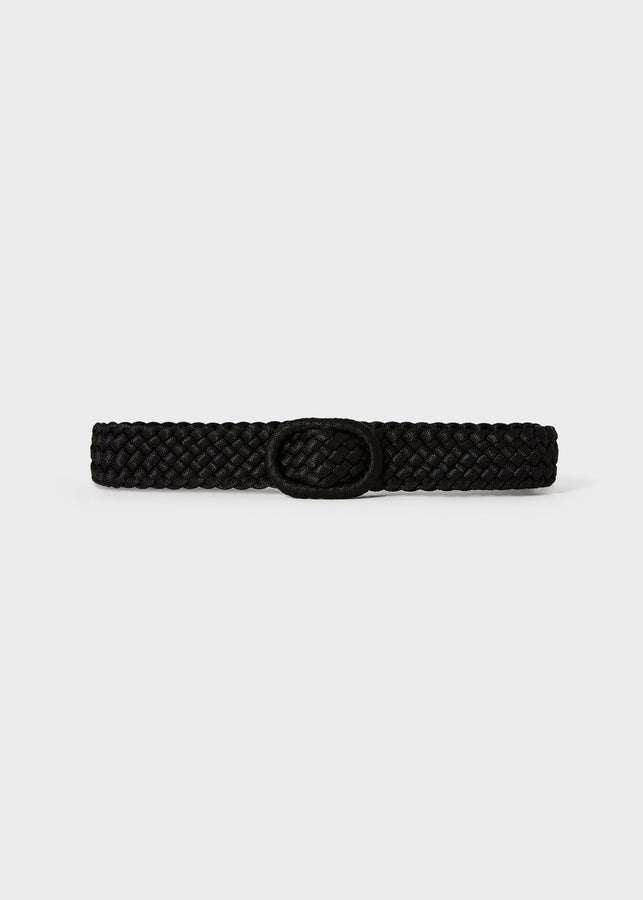 Slim braided fabric belt