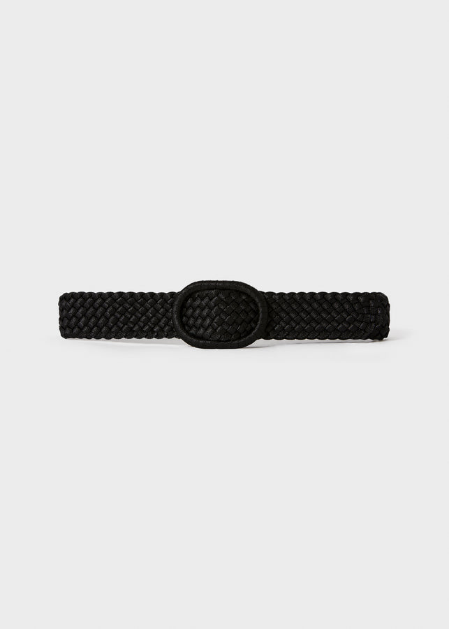 Wide braided fabric belt