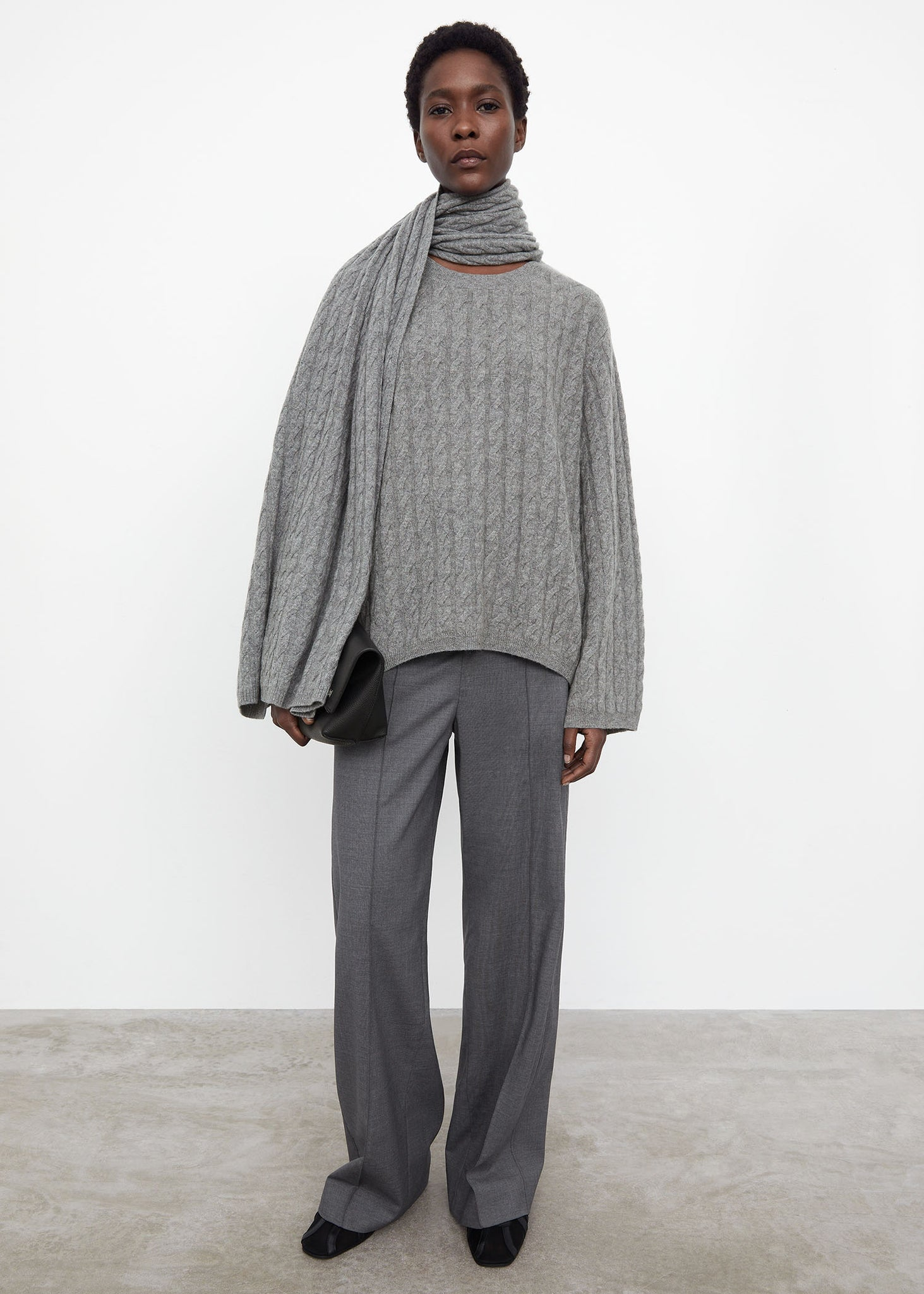 Cashmere cable knit grey melange