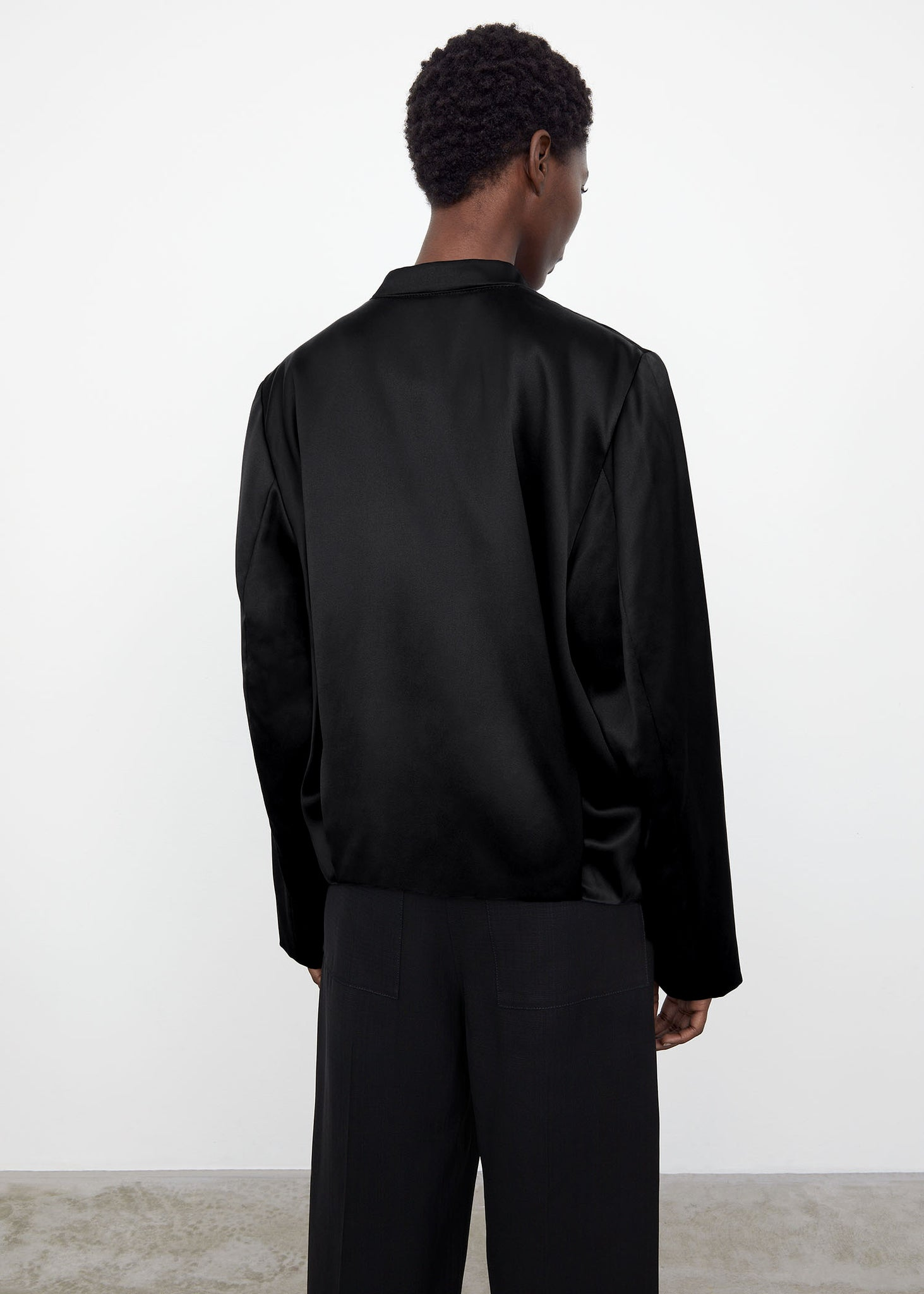 Satin track bomber black