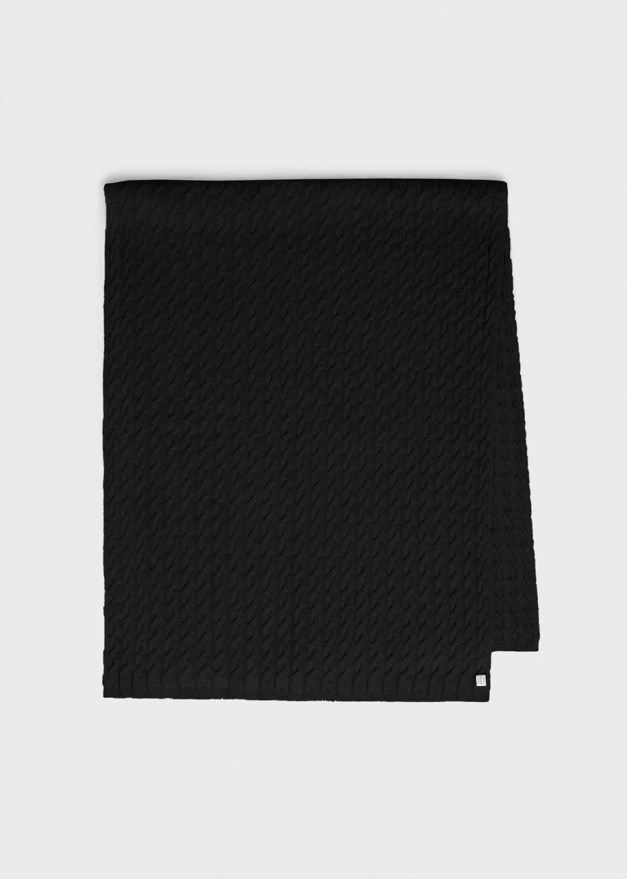 Cashmere cable knit scarf black