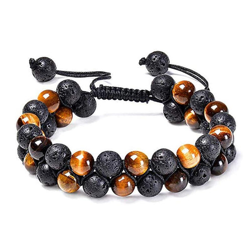 Stretch bracelet made with  8mm round Tiger's Eye and Lava Stones, black braided cord