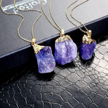 Load image into Gallery viewer, 1 inch raw Amethyst stone  on  gold chain