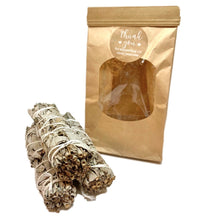 Load image into Gallery viewer, 3 pack bundle White Sage Smudge sticks with brown paper bag