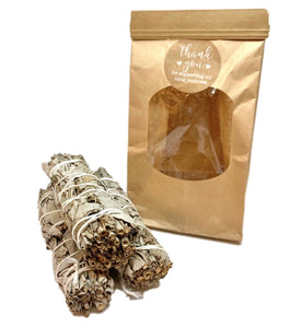 3 pack bundle White Sage Smudge sticks with brown paper bag