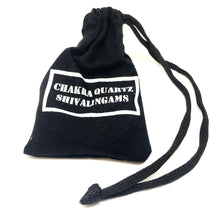 Load image into Gallery viewer, Black drawstring bag with Chakra Quartz Shivalingams written on back