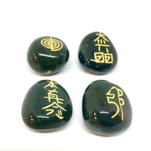 Load image into Gallery viewer, 4 Bloodstone Healing Crystals with Reiki symbols, smooth tumbled stones