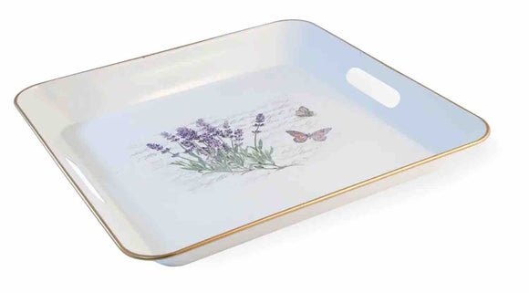 Square Metal Tray with Lavender and Butterflies