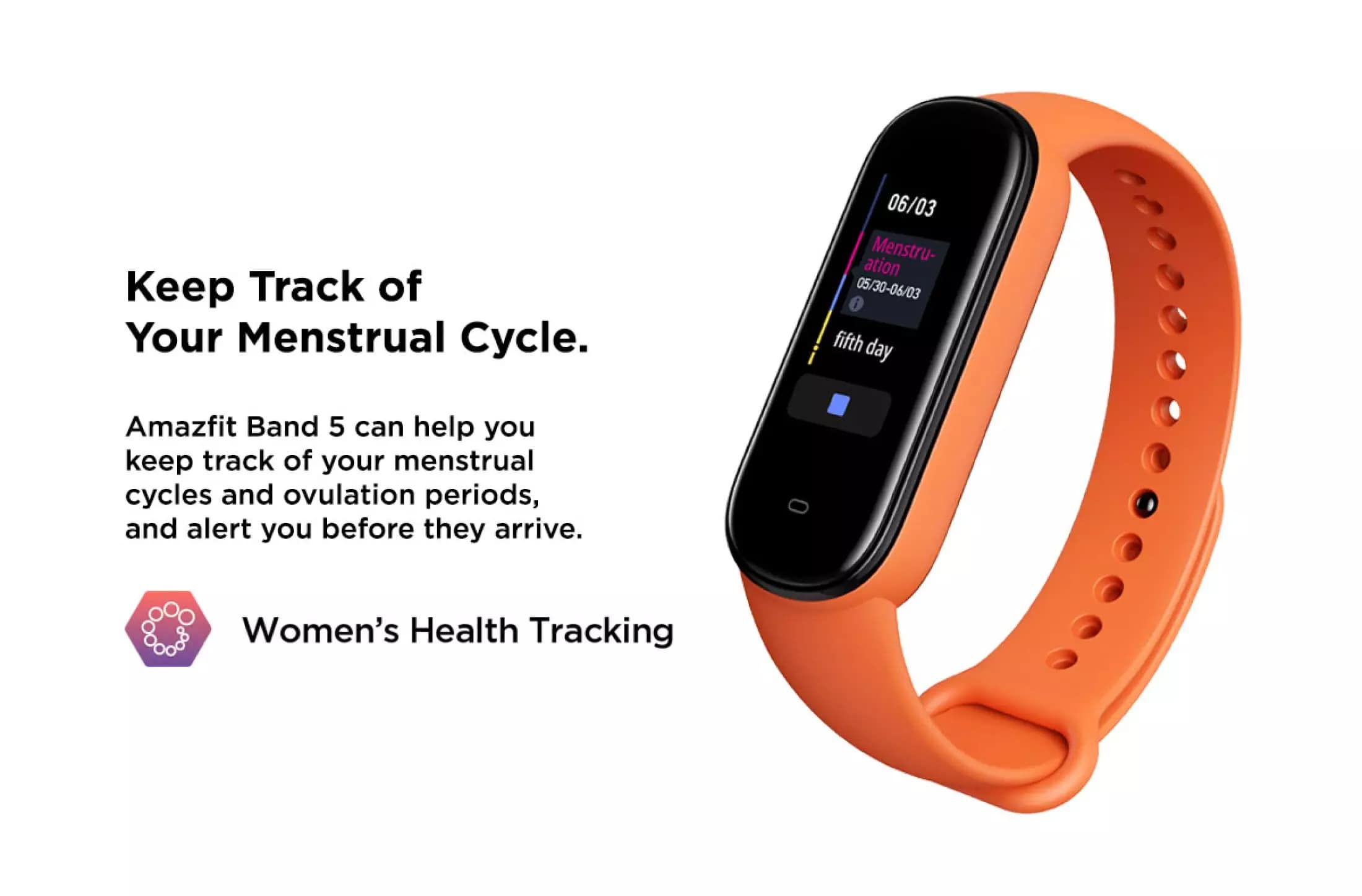 Amazfit Band 5 Keep Tracks of Your Menstrual Cycle