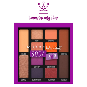 Maybelline Soda Pop Eyeshadow Palette Makeup features 12 bold, pigmented eyeshadows in a mix of matte eyeshadow and shimmer eyeshadow shades. Create any look with these sweet soda pop scented shades. Bring on wearable neutrals with bold soda pops of color from Maybelline's Soda Pop Palette. A fresh take on the classic eyeshadow palette, these pigmented shades offer endless look possibilities. Softer hues to highlight, darker shades to amplify and define, and bright pops of soda pop colors for a bold look!
