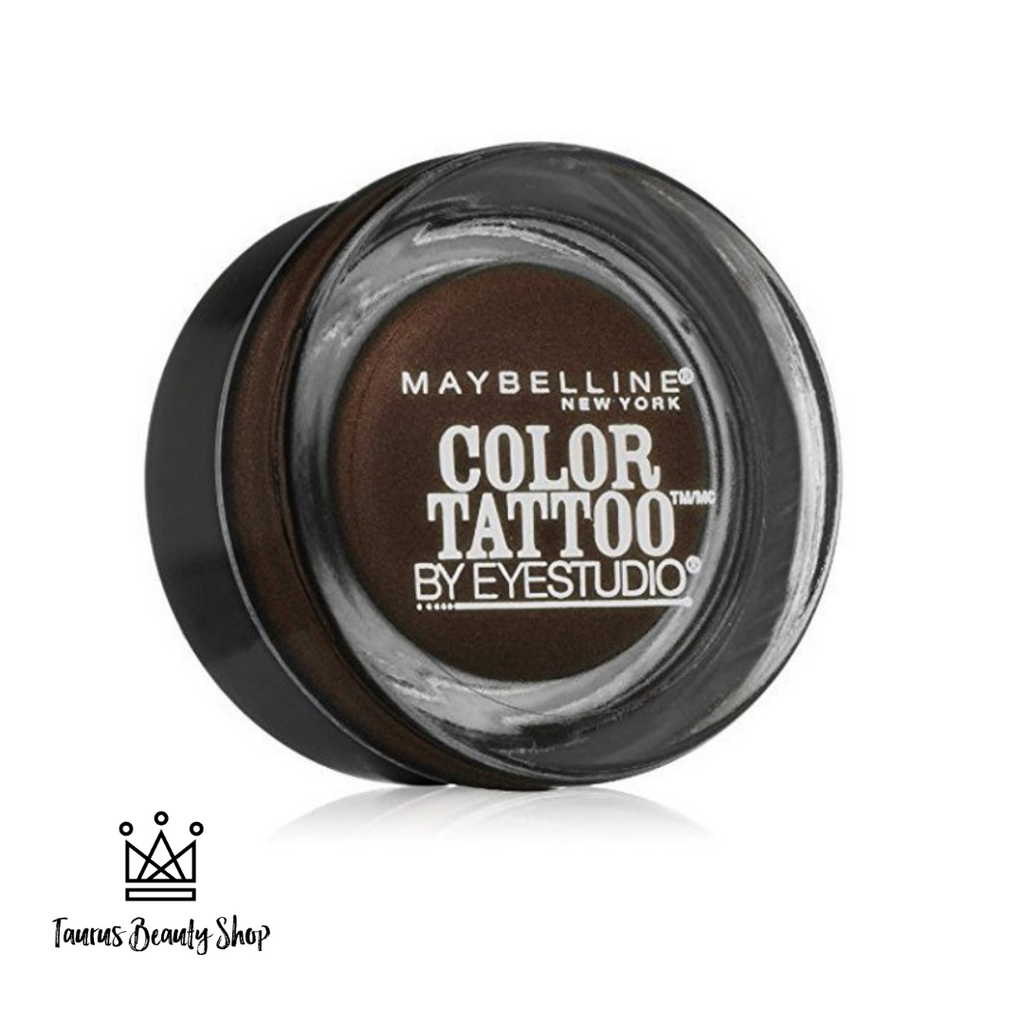 Crease resistant. Fade resistant. Waterproof. Introducing Maybelline's most longwearing eyeshadow yet! Color Tattoo Cream Eyeshadow Pots have super saturated payoff for up to 24 hour tattoo intensity. Seamlessly melts onto lids in one easy swipe. Waterproof formula resists fading or creasing for an all day look that you can set and forget.  Key Benefits: Mattes and shimmers Creamy formula Up to 24HR wear No crease or fade Waterproof