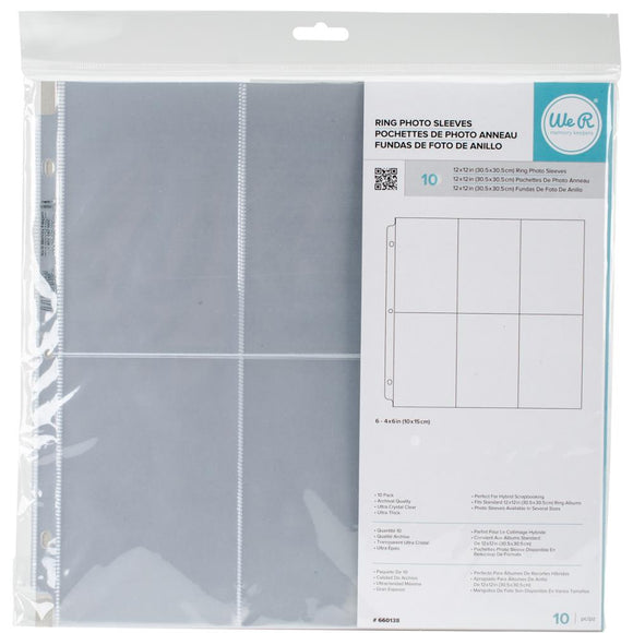 We R Memory Keepers  - 12x12 Ring Photo Sleeves-6x4 Vertical-10pk