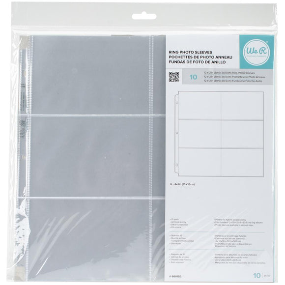 We R Memory Keepers  - 12x12 Ring Photo Sleeves-4x6 Horizontal-10pk