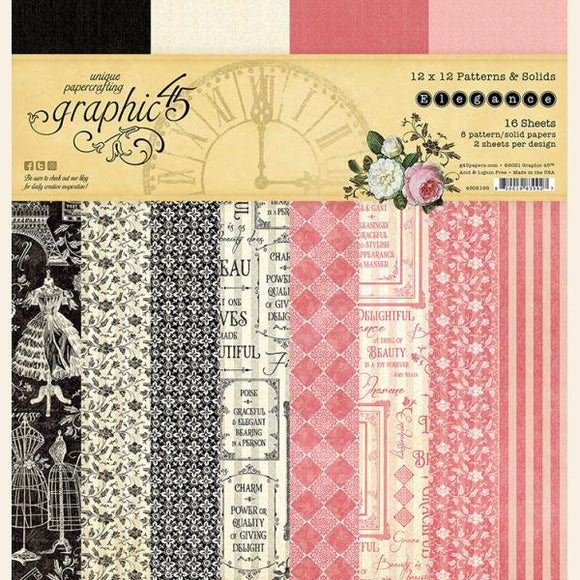 Graphic 45 - Elegance- 12x12 Patterns & Solids Pack