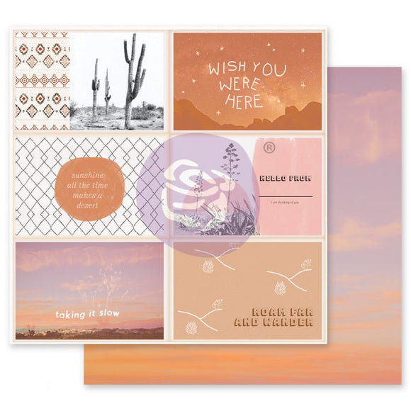 Prima Marketing - Golden Desert - Wish You Were Here-12x12 Cardstock
