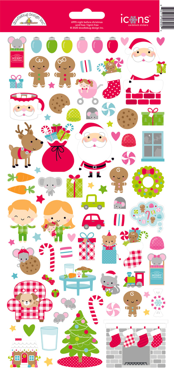 Doodlebug Night Before Christmas - Icons Sticker