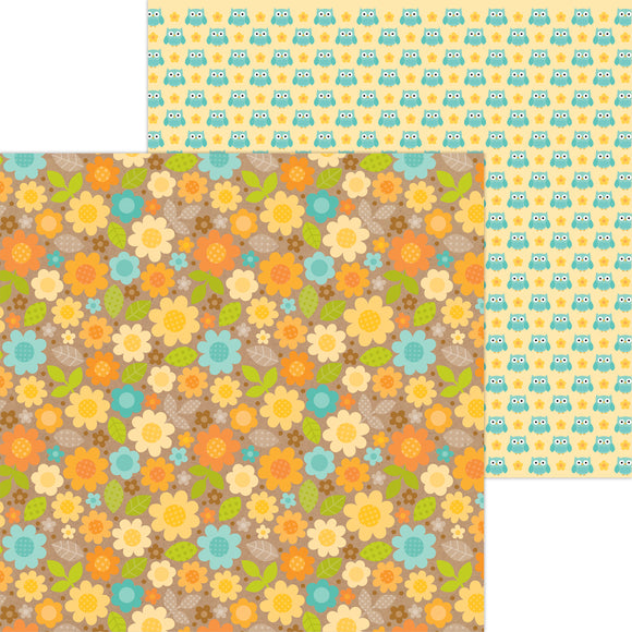 Doodlebug Pumpkin Spice - Sunflower Fields Double Cardstock 12x12