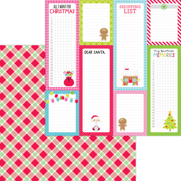 Doodlebug Night Before Christmas - Santa Stocking Double-Sided Cardstock 12x12