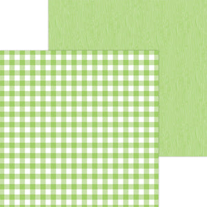 Doodlebug - 12x12 Double-Sided Cardstock-Petite Prints Buffalo Check/Wood Grain-Limeade