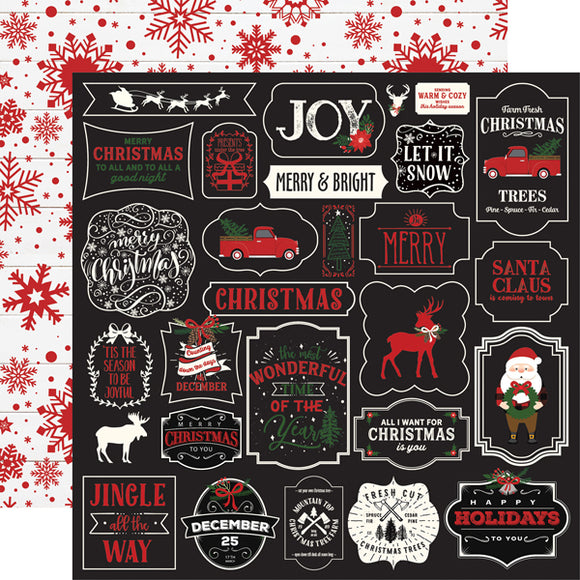 Echo Park- A Lumberjack Christmas - Jingle all the Way - 12x12 Cardstock