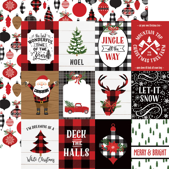 Echo Park- A Lumberjack Christmas - 3x4 Journaling Cards - 12x12 Cardstock