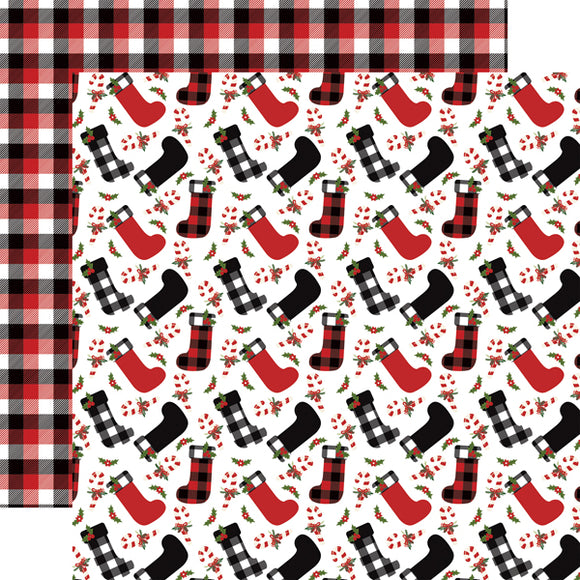 Echo Park- A Lumberjack Christmas - Stockings - 12x12 Cardstock