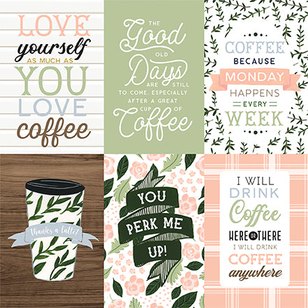 Echo Park Coffee & Friends - 4x6 Journaling Cards 12x12 Cardstock