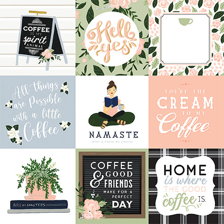 Echo Park Coffee & Friends - 4x4 Journaling Cards 12x12 Cardstock