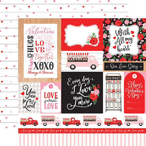 Echo Park Cupid & Co. - Multi Journaling Cards 12x12 Cardstock