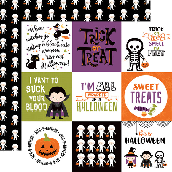 Echo Park - I Love Halloween - 4x4 Journaling Cards - 12x12 Cardstock