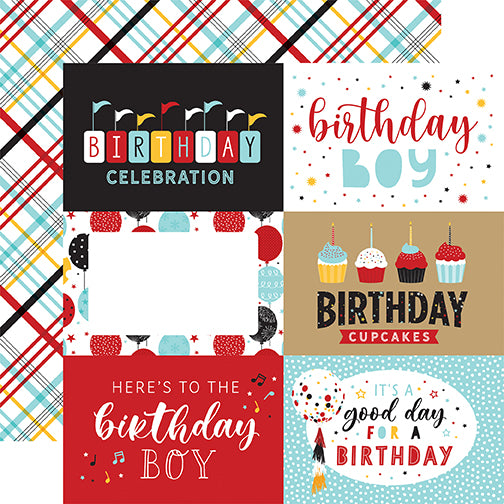 Echo Park Magical Birthday Boy - 6x4 Journaling Cards 12x12 Cardstock